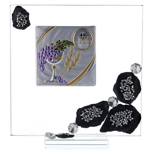 Picture glass and slate Communion symbols and rhinestones 1
