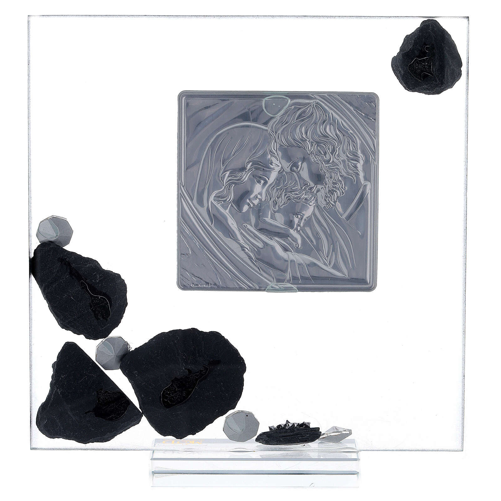 Picture glass and slate Holy Family and rhinestones 3
