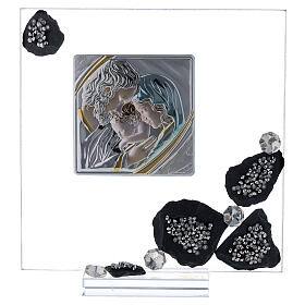 Picture glass and slate Holy Family and rhinestones s1
