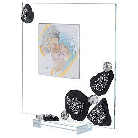 Picture glass and slate Holy Family and rhinestones s2