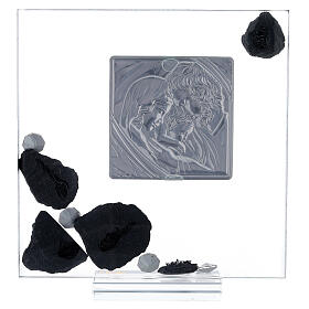 Picture glass and slate Holy Family and rhinestones s3