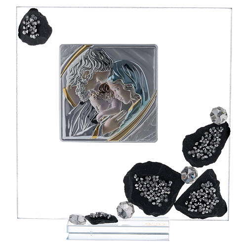 Picture glass and slate Holy Family and rhinestones 1