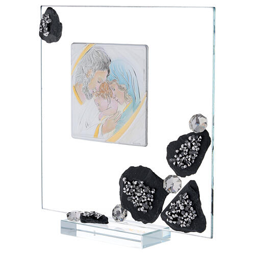 Picture glass and slate Holy Family and rhinestones 2