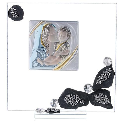 Quadretto vetro e ardesia maternità 1