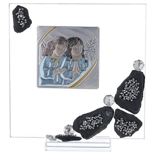 Picture glass and slate Angels and rhinestones 1