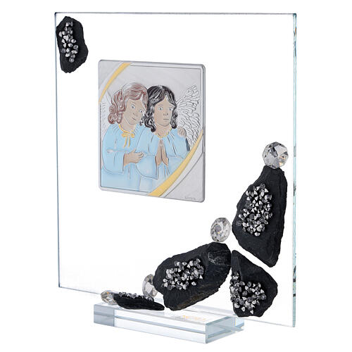 Picture glass and slate Angels and rhinestones 2