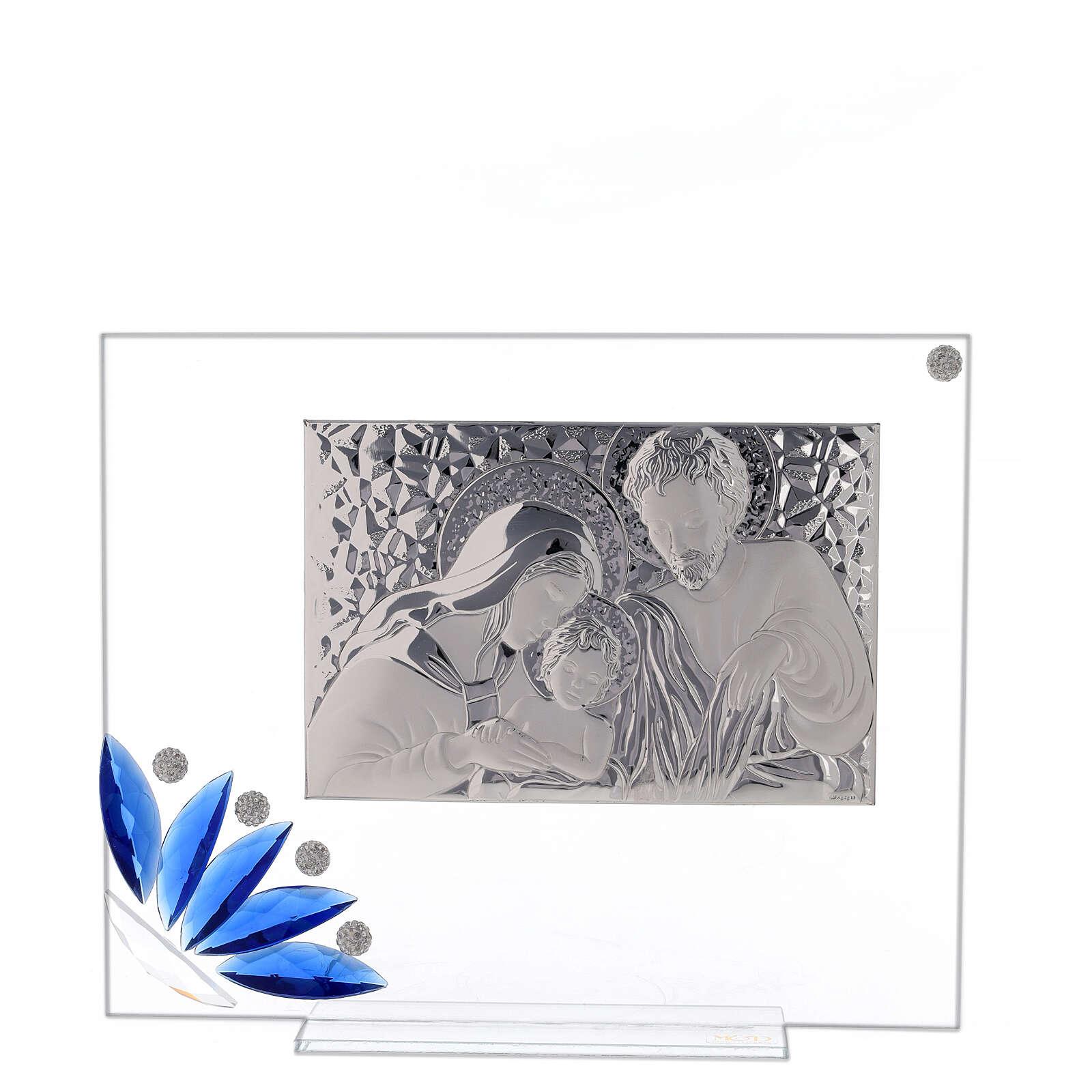 Cuadrito vidrio Sagrada Familia flor azul 3