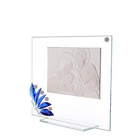 Cuadrito vidrio Sagrada Familia flor azul s2
