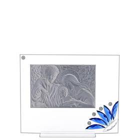 Cuadrito vidrio Sagrada Familia flor azul s3