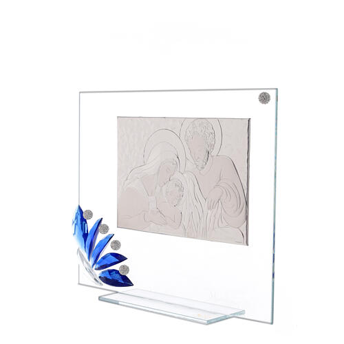 Cuadrito vidrio Sagrada Familia flor azul 2