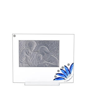 Cadre verre Sainte Famille fleur bleue s3