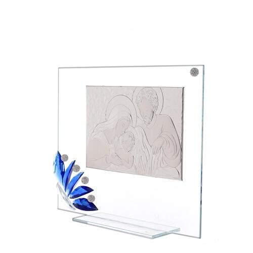 Cadre verre Sainte Famille fleur bleue 2