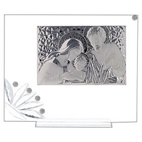 Glass picture Holy Family and transparent flower s1