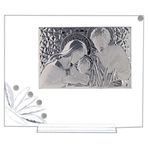 Glass picture Holy Family and transparent flower 1