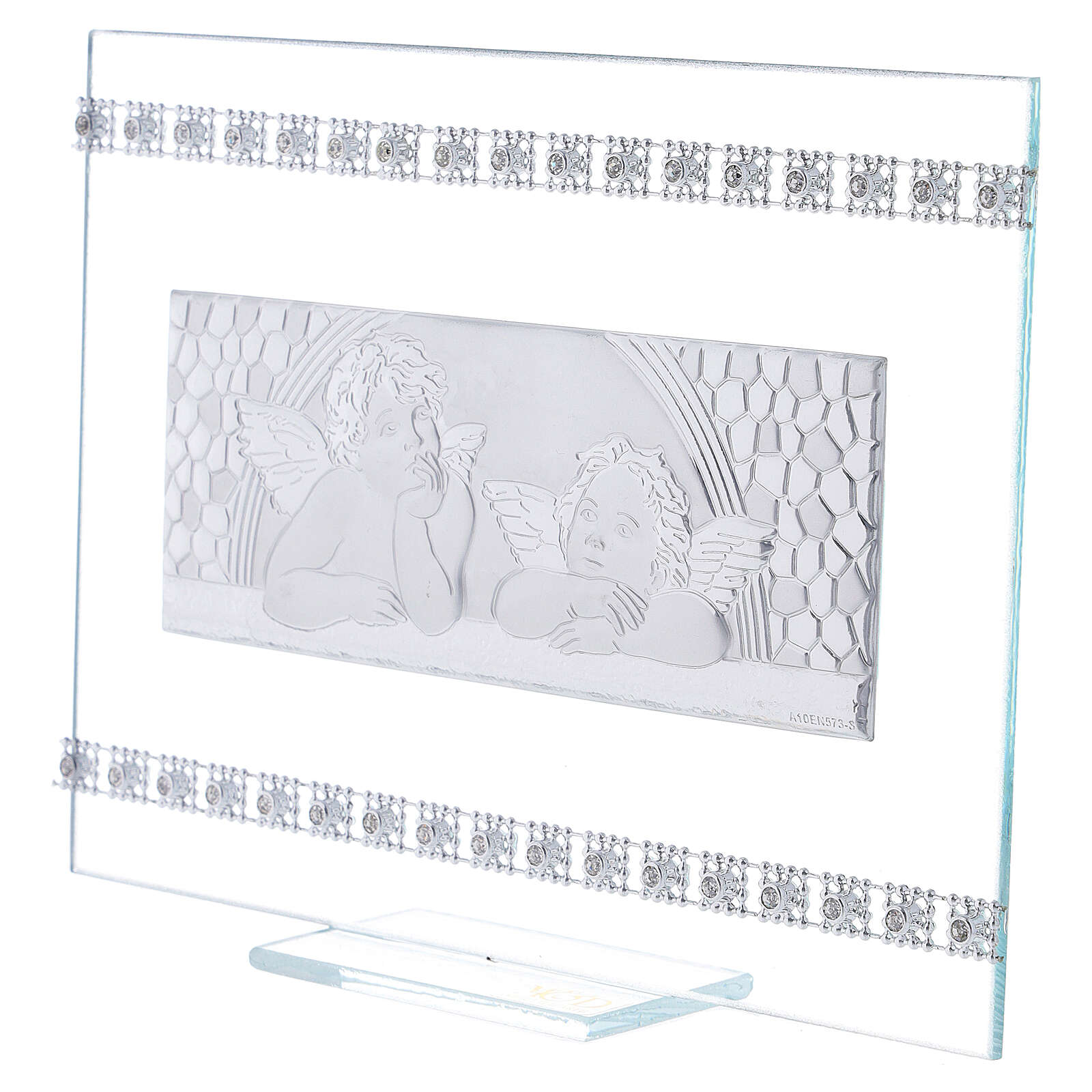 Quadretto Battesimo Angeli e strass vetro 3