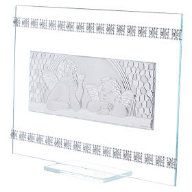 Quadretto Battesimo Angeli e strass vetro s2