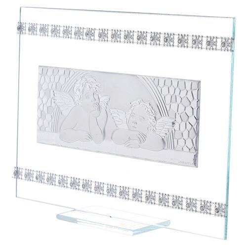 Quadretto Battesimo Angeli e strass vetro 2