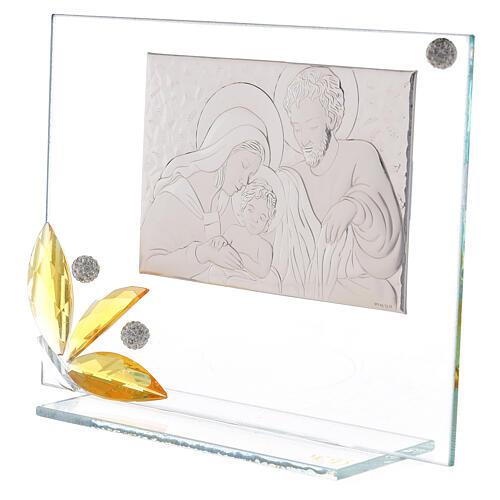 Cuadrito vidrio flor ambarina Sagrada Familia 2