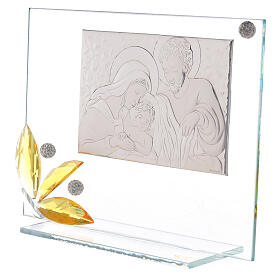 Glass picture Holy Family and glass amber flower s2