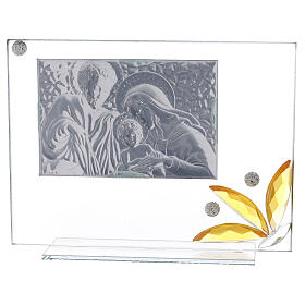 Glass picture Holy Family and glass amber flower s3