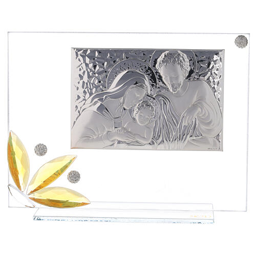 Glass picture Holy Family and glass amber flower 1