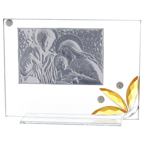 Glass picture Holy Family and glass amber flower 3
