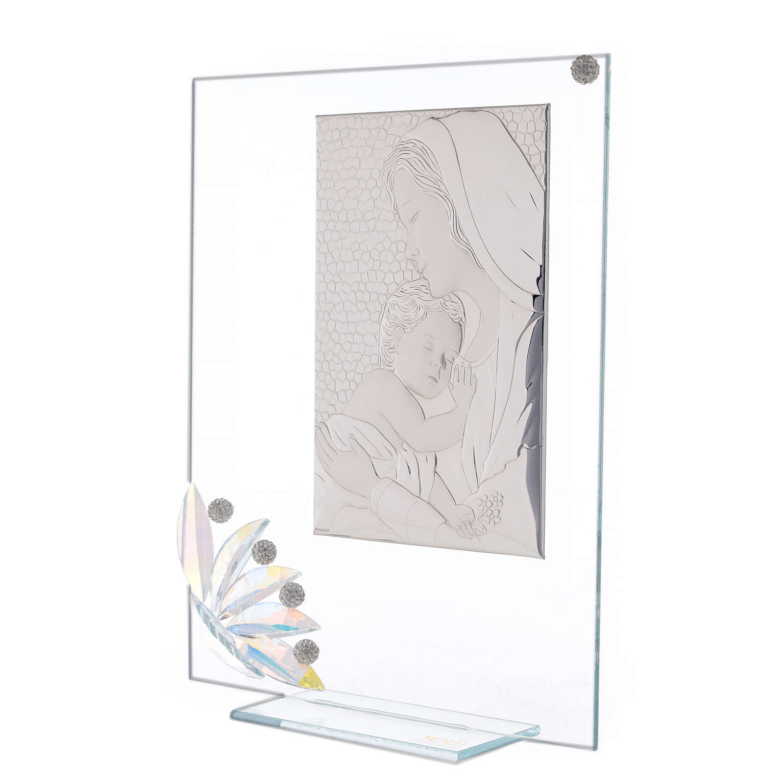 Cuadrito vidrio maternidad pétalos flores matices 3