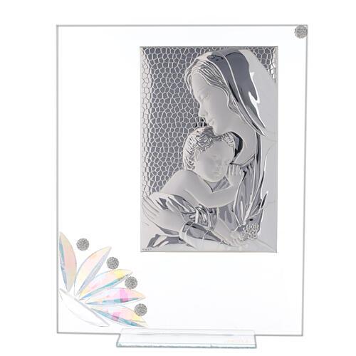 Cuadrito vidrio maternidad pétalos flores matices 1
