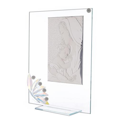Cuadrito vidrio maternidad pétalos flores matices 2