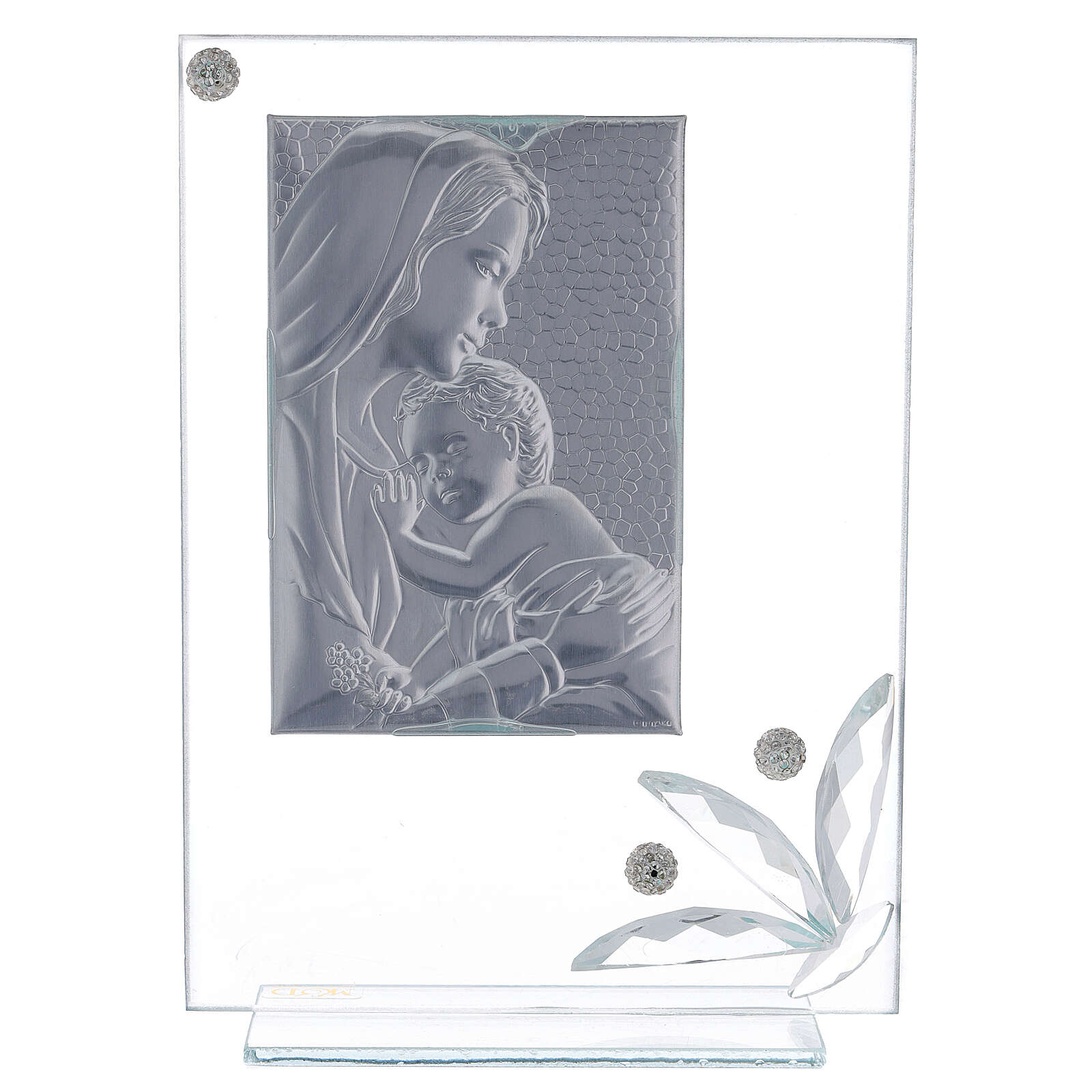Glass picture Virgin with Child and big glass flower 3