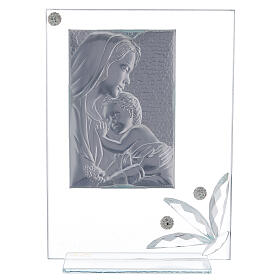 Glass picture Virgin with Child and big glass flower s3