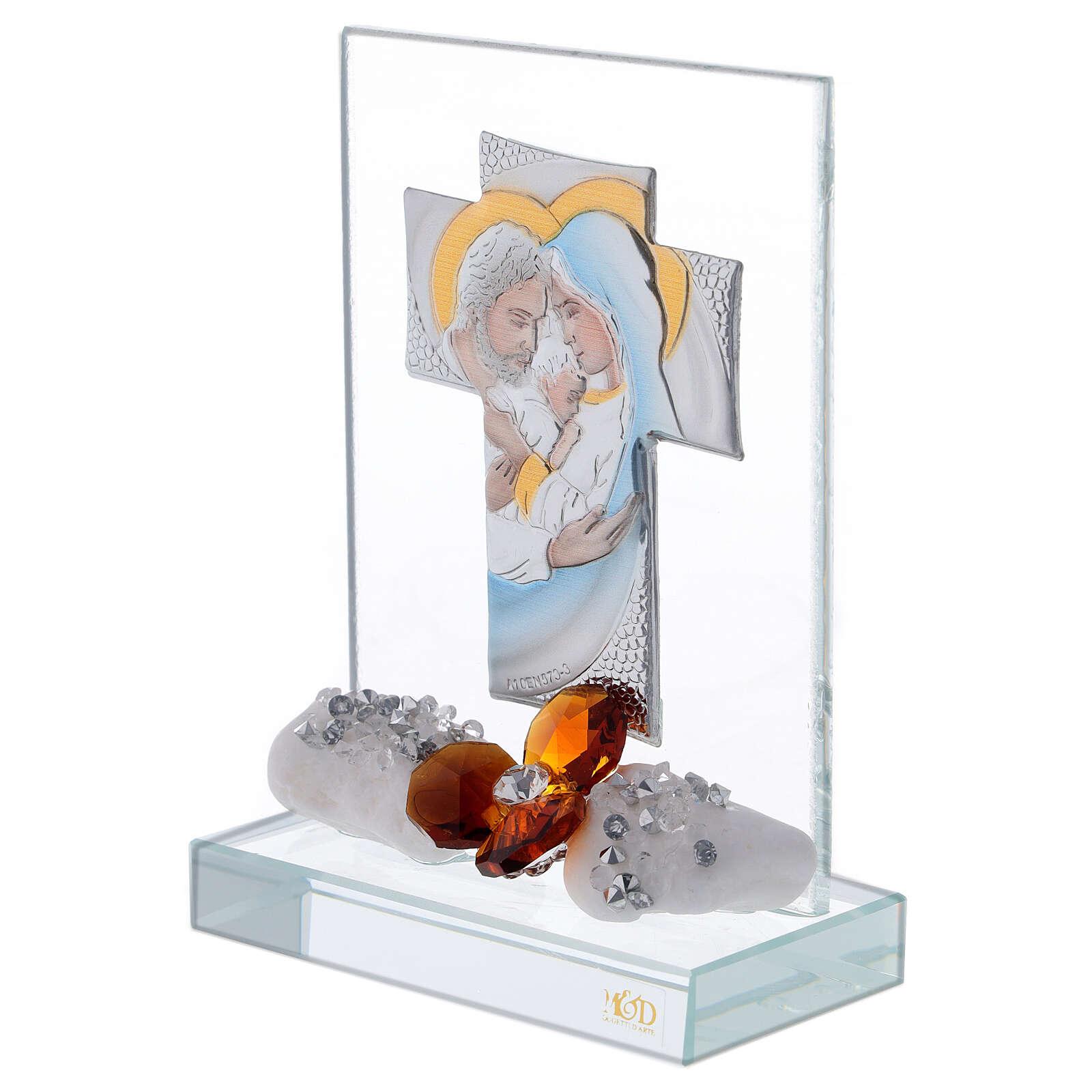 Crucifix avec Sainte Famille fleur marron base cristal 3