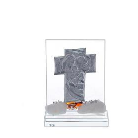Crucifix avec Sainte Famille fleur marron base cristal s3