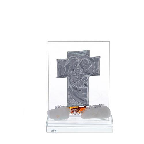 Crocefisso con Sacra Famiglia fiore marrone base cristallo 3
