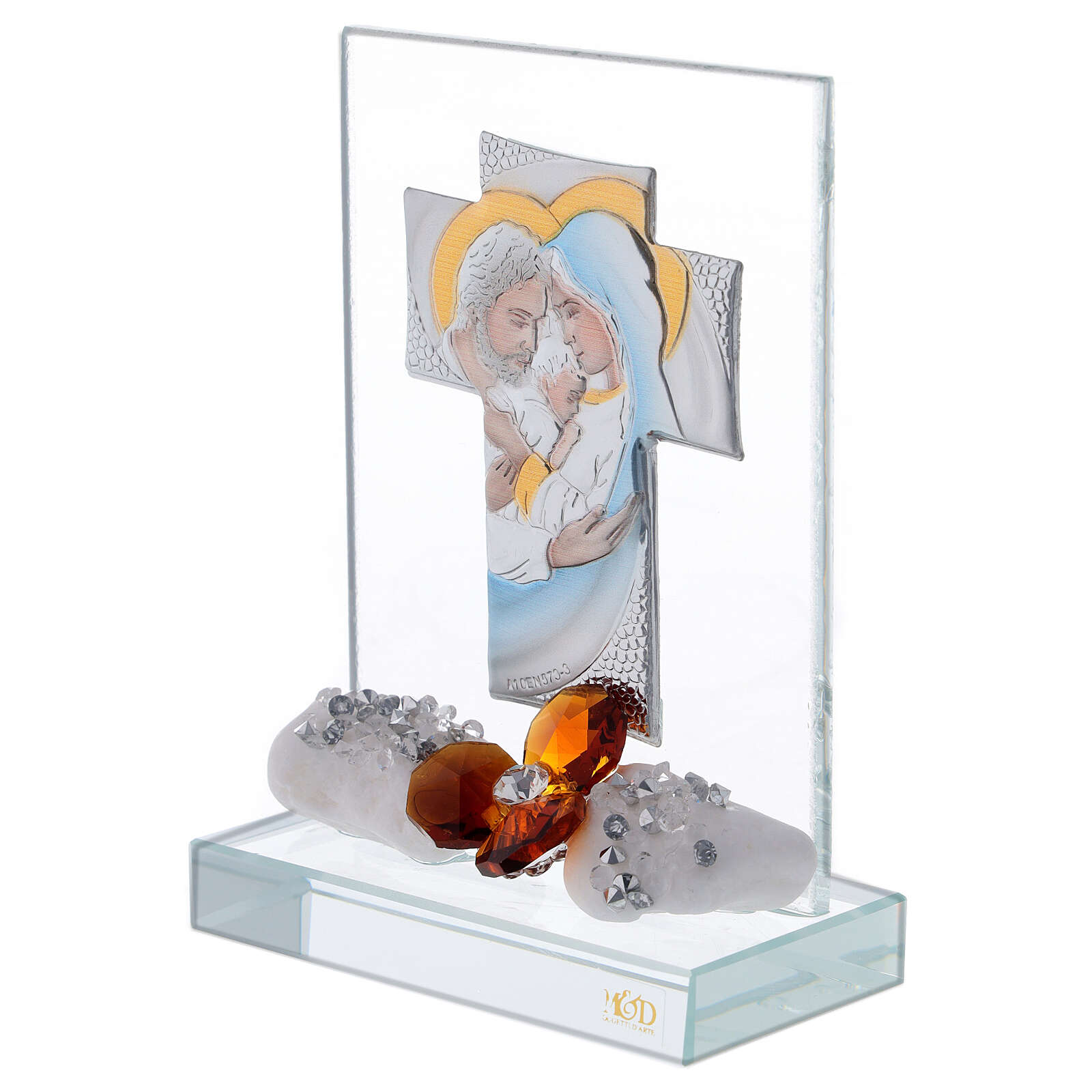 Cross with Holy Family amber flower and crystal frame 3