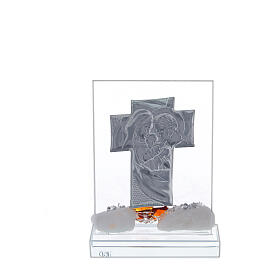 Cross with Holy Family amber flower and crystal frame s3