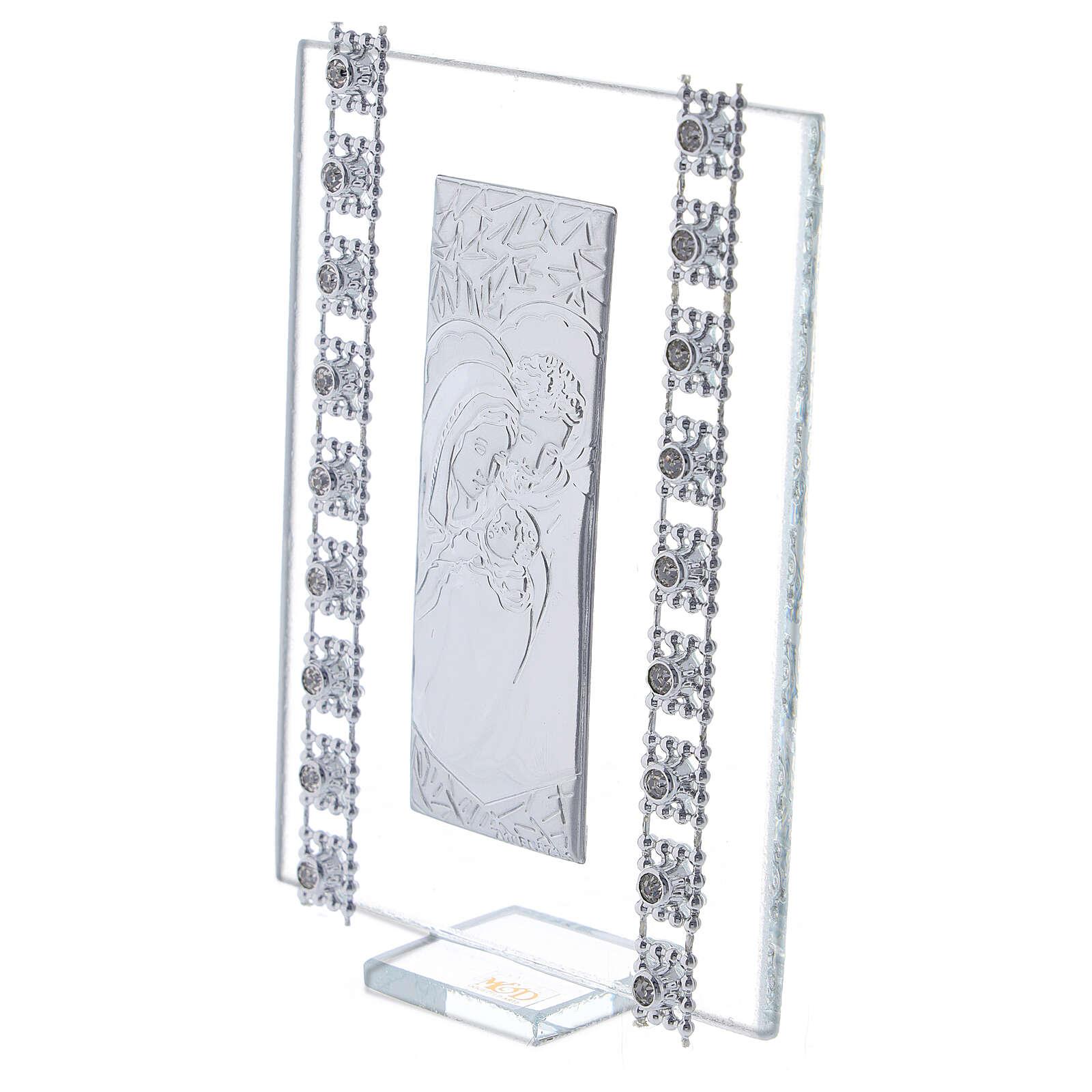 Cuadrito vidrio y cuentas strass Sagrada Familia 3