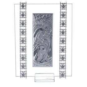 Cuadrito vidrio y cuentas strass Sagrada Familia s1