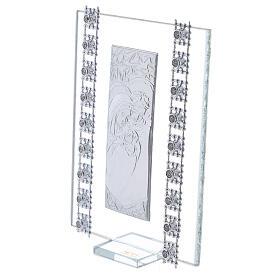 Cuadrito vidrio y cuentas strass Sagrada Familia s2