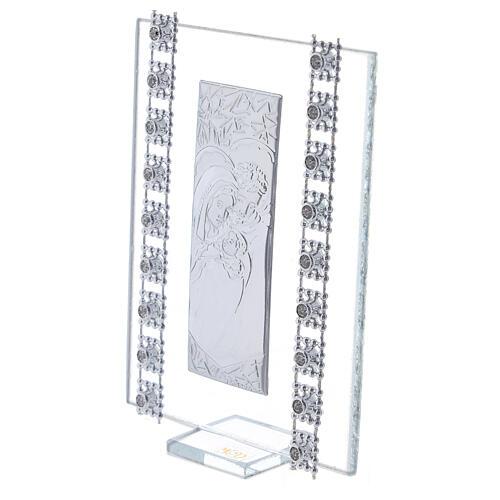 Cuadrito vidrio y cuentas strass Sagrada Familia 2