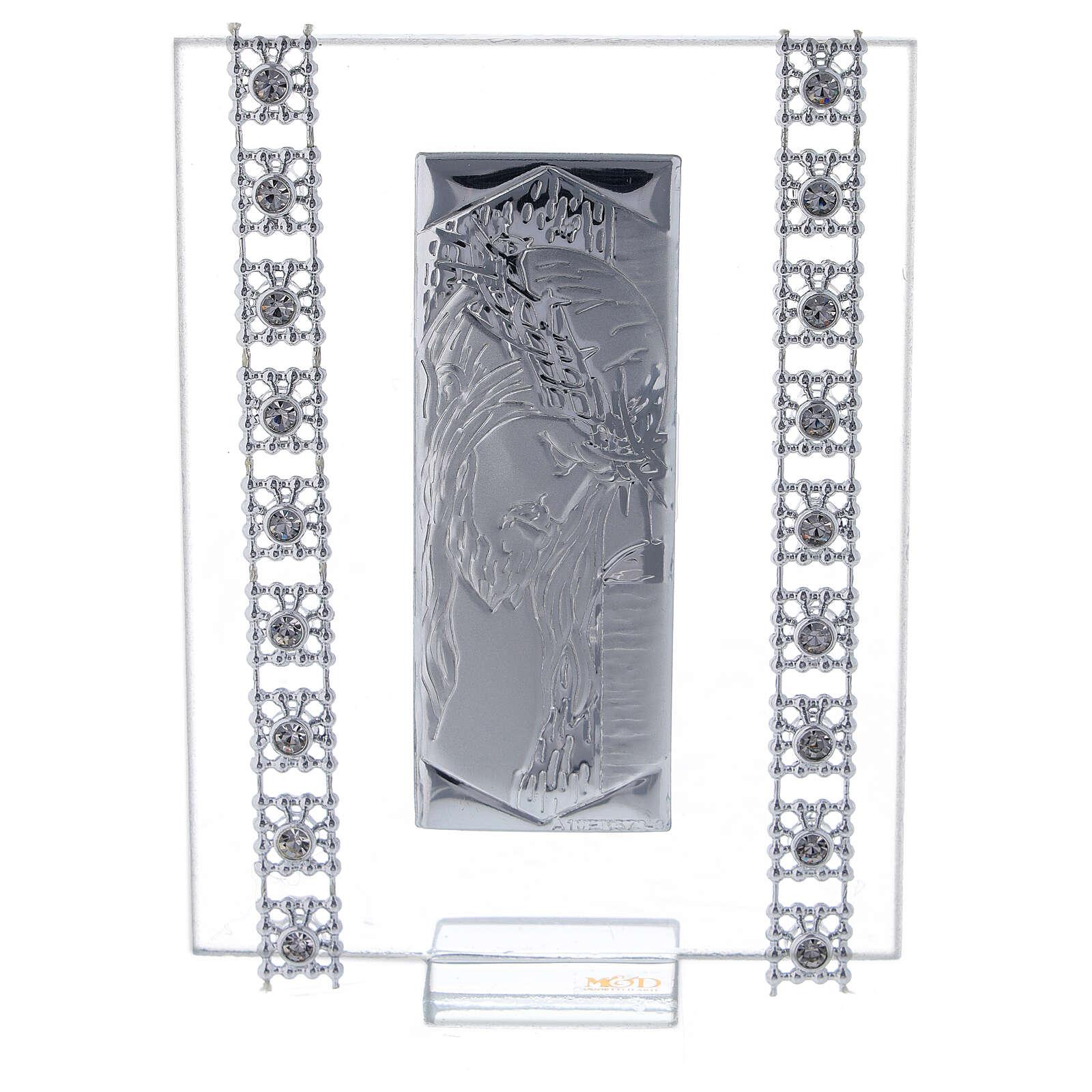 Cuadrito Cristo lámina de plata y cuentas strass 3