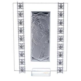 Cuadrito Cristo lámina de plata y cuentas strass s1