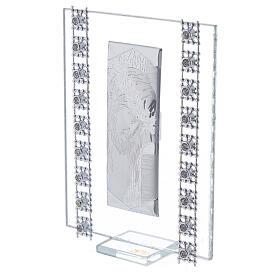 Cuadrito Cristo lámina de plata y cuentas strass s2
