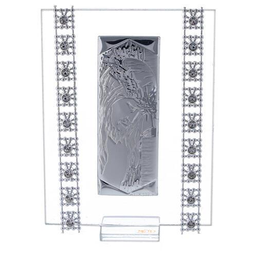 Cuadrito Cristo lámina de plata y cuentas strass 1