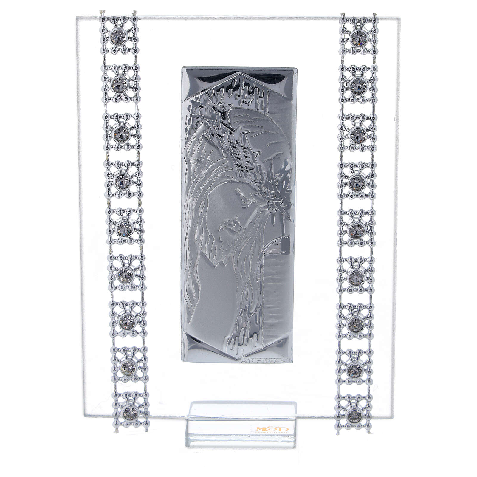 Quadretto Cristo lamina d'argento e strass 3