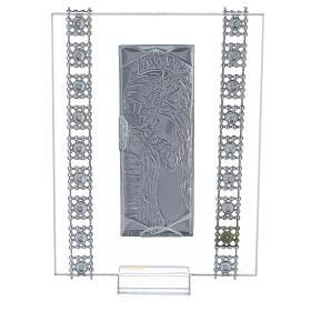 Quadretto Cristo lamina d'argento e strass s3