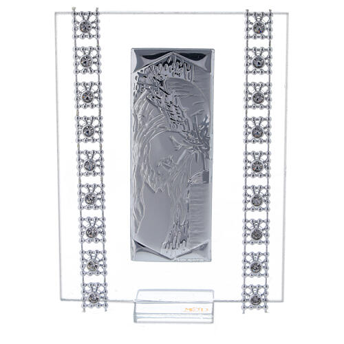 Picture Chirst silver foil and rhinestones 1