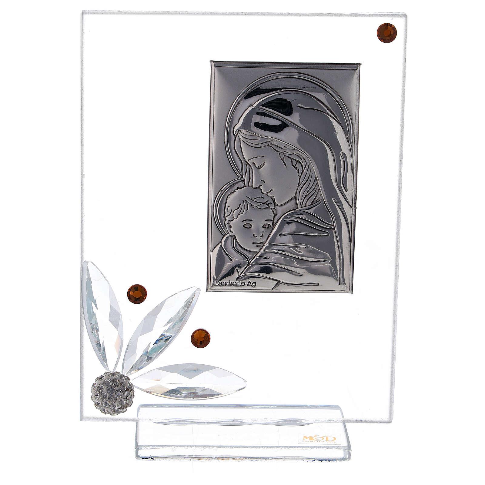 Cuadrito nacimiento vidrio con cuentas strass ambarinas 3