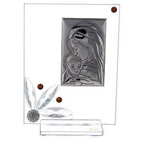 Cuadrito nacimiento vidrio con cuentas strass ambarinas s1