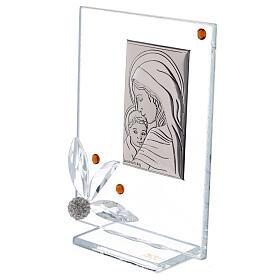 Cuadrito nacimiento vidrio con cuentas strass ambarinas s2